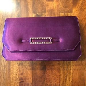 Purple evening bag with rhinestone detail